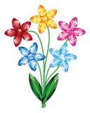 O ramalhete das flores das pedras preciosas isolou o vetor do objeto ilustração do vetor