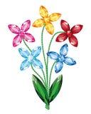 O ramalhete das flores das pedras preciosas isolou o vetor do objeto Fotos de Stock