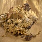 O ramalhete de flores secadas em um fundo do ouro coloriu o pano fotos de stock