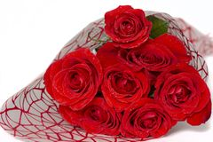 O ramalhete de rosas vermelhas encontra-se em um fundo branco fotos de stock royalty free