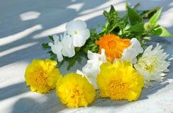 O ramalhete do verão floresce em uma tabela de madeira branca Imagem de Stock