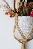 O ramalhete em uma joia do vaso fez malha o suporte do terrarium do macramê Em imagens de stock