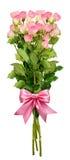O ramalhete pequeno das flores da rosa do rosa e uma fita curvam-se Imagens de Stock