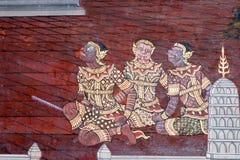 O ramayana que pinta em público o templo em Tailândia Foto de Stock