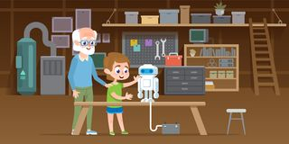 O rapaz pequeno com seu avô cria o robô novo do lego na oficina da garagem Família que projeta junto a tecnologia esperta ilustração royalty free