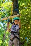 O rapaz pequeno corajoso tem um divertimento no parque da aventura e os polegares da doação Imagens de Stock