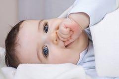 O rapaz pequeno de 7 meses coloca em uma parte traseira Foto de Stock Royalty Free