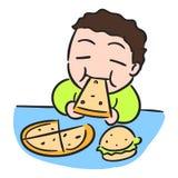 O rapaz pequeno dos desenhos animados está comendo o estoque do vetor da pizza ilustração do vetor