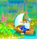 O rapaz pequeno está navegando na floresta do mundo das fadas ilustração do vetor