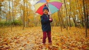 O rapaz pequeno feliz está andando no parque do outono sob o guarda-chuva filme