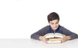 O rapaz pequeno lê o livro Imagens de Stock Royalty Free