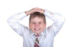 O rapaz pequeno malicioso imagem de stock