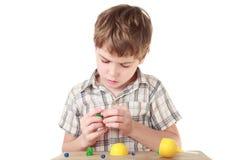 O rapaz pequeno na camisa de manta coleta o animal Imagem de Stock