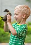 O rapaz pequeno realiza em suas mãos o patinho pequeno fotografia de stock