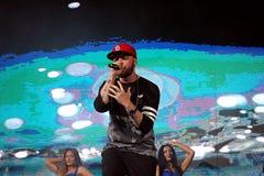 O rapper do ST na fase em Moscou canta Foto de Stock Royalty Free