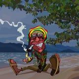 O rastaman engraçado do homem dos desenhos animados senta-se pelo mar e fuma-se ilustração royalty free
