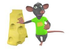 O rato dos desenhos animados inclina-se contra uma parte de queijo Fotos de Stock