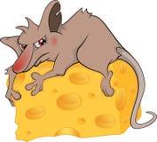 Desenhos animados da parte do rato e do queijo ilustração stock