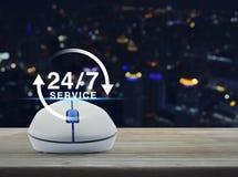 O rato sem fio do computador com botão 24 horas presta serviços de manutenção ao ícone corteja sobre Imagem de Stock Royalty Free