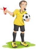 O árbitro do futebol assobia e mostra o cartão vermelho Foto de Stock Royalty Free