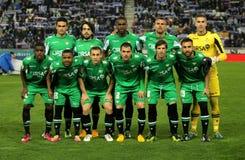 O Real Betis team o levantamento imagens de stock