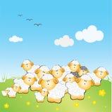 O rebanho dos sheeps com preto um ilustração stock