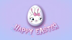 O reboque feliz 30 FPS do título da animação da Páscoa pontilha o babyblue cor-de-rosa ilustração stock