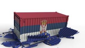 O recipiente com a bandeira da Sérvia quebra o recipiente de carga com a bandeira da União Europeia Guerra comercial ou conflito  ilustração stock