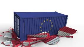 O recipiente com a bandeira da União Europeia quebra o recipiente de carga com a bandeira de Áustria Guerra comercial ou conflito ilustração do vetor