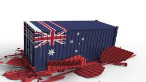 O recipiente com a bandeira de Austrália quebra o recipiente de carga com a bandeira de China Guerra comercial ou conflito econôm ilustração royalty free