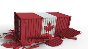 O recipiente com a bandeira de Canadá quebra o recipiente de carga com a bandeira de China Guerra comercial ou conflito econômico ilustração royalty free