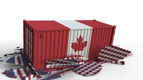 O recipiente com a bandeira de Canadá quebra o recipiente de carga com a bandeira do Estados Unidos Guerra comercial ou conflito  ilustração stock