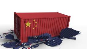 O recipiente com a bandeira de China quebra o recipiente de carga com a bandeira de Austrália Guerra comercial ou conflito econôm ilustração do vetor