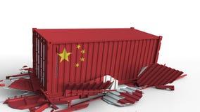 O recipiente com a bandeira de China quebra o recipiente de carga com a bandeira de Canadá Guerra comercial ou conflito econômico ilustração royalty free
