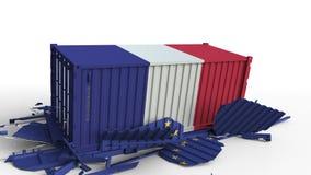 O recipiente com a bandeira de França quebra o recipiente de carga com a bandeira da União Europeia Guerra comercial ou conflito  ilustração stock