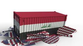 O recipiente com a bandeira de Iraque quebra o recipiente de carga com a bandeira do Estados Unidos Guerra comercial ou conflito  ilustração royalty free