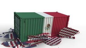 O recipiente com a bandeira de México quebra o recipiente de carga com a bandeira do Estados Unidos Guerra comercial ou conflito  ilustração royalty free