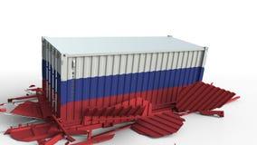 O recipiente com a bandeira de Rússia quebra o recipiente de carga com a bandeira de China Guerra comercial ou conflito econômico ilustração do vetor