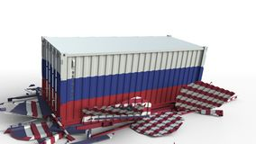 O recipiente com a bandeira de Rússia quebra o recipiente de carga com a bandeira do Estados Unidos Guerra comercial ou conflito  ilustração royalty free