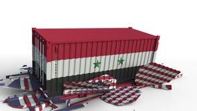 O recipiente com a bandeira de Síria quebra o recipiente de carga com a bandeira do Estados Unidos Guerra comercial ou conflito e ilustração do vetor