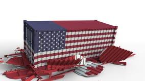 O recipiente com a bandeira dos EUA quebra o recipiente de carga com a bandeira de Canadá Guerra comercial ou conflito econômico  ilustração do vetor