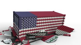 O recipiente com a bandeira dos EUA quebra o recipiente de carga com a bandeira de Iraque Guerra comercial ou conflito econômico  ilustração royalty free
