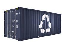 O recipiente de carga azul com recicla a marca Fotos de Stock