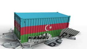 O recipiente de carga com a bandeira de Azerbaijão quebra o recipiente com texto da importação Anima??o 3D conceptual filme