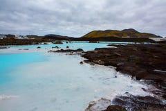 O recurso geotérmica do banho da lagoa azul em Islândia A lagoa azul famosa perto de Reykjavik, Islândia fotografia de stock royalty free