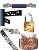 O recurso gráfico financeiro é considerado aqui ilustração stock