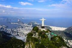 O redentor, baía de Guanabara, Sugar Loaf Mountain Fotos de Stock Royalty Free