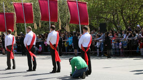 O regimento imortal da ação na parada da vitória Fotografia de Stock