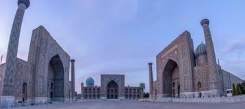 O Registan no por do sol, Samarkand, Usbequistão fotografia de stock