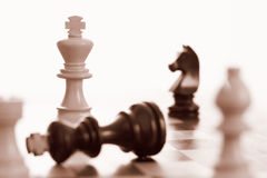 O rei branco ganha o jogo de xadrez Foto de Stock